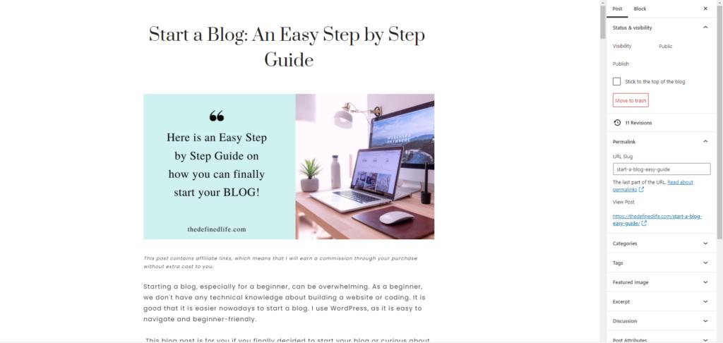 SEO-friendly blog post- use keywords on your URL