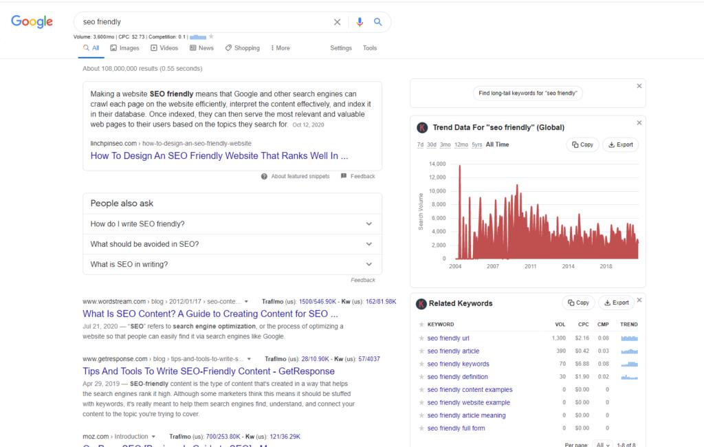 SEO-friendly keyword research tool